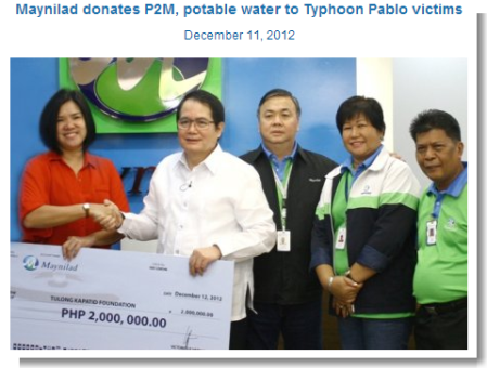 Maynilad donates to Pablo victims